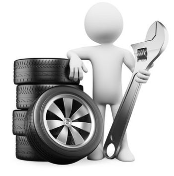 Computer generated figure holding an adjustable spanner whilst standing by a selection of tyres